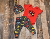 Infant Boy's Gamer Pants, Bodysuit and Knot Hat Set - Can be Personalized - Coming Home Outfit