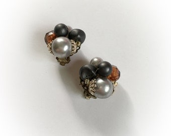 Vintage Cluster Bead Earrings Clip On Japan Faceted Pearlescent