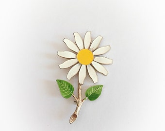 Vintage Flower Power Daisy Enamel Brooch