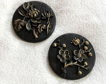 Vintage 1970s 1973 Miller Studio Inc Chalkware Flower Wall Hangings Black and Gold