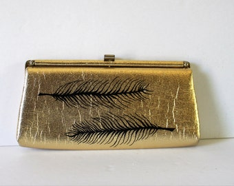 VINTAGE gold CLUTCH / vintage handbag / gold purse / wedding purse / wedding clutch / bridesmaid purse / bridesmaid gift/vintage evening bag