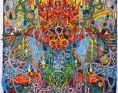 "Psychedelic Outsider Visionary Art - ""My Totem Unfurls"" by Michael J Bowman aka Velveeta Heartbreak - Digital ePrint"