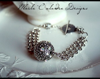 MEDIEVAL antique silver BALL and CHAIN Handmade Bracelet-Multi Strand