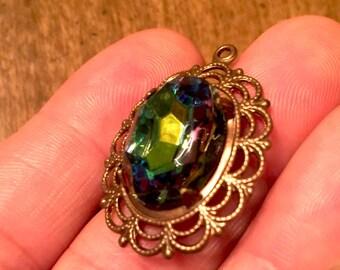 VINTAJ Brass AURORA BOREALIS Faceted Glass Pendant-Rainbow Pendant-Copper Brown Pendant-Oval Pendant-Lace Pendant-Glass Stone Pendant