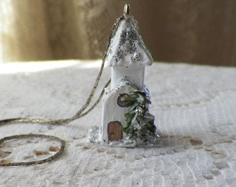 Handmade Vintage Inspired Miniature Putz White Church, Necklace, Mixed Media, Paper, Glitter, Snow, Mini Winter Village House / Putz House