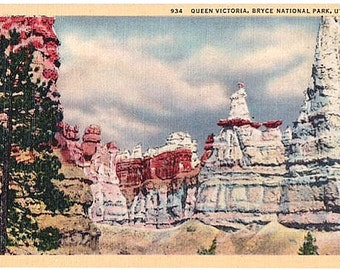 Utah Vintage Postcard - Queen Victoria at Bryce Canyon National Park (Unused)