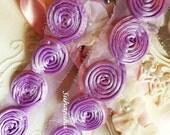 Lt. Purple rolled Flower lace Trim 1 yd