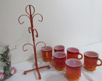 Fire King Mugs and Tree Set of 6 Anchor Hocking Coffee Cups
