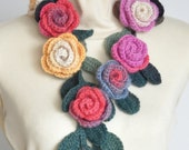 ROSA -  Gray and Pink - Crochet Multicolor Roses Scarf/Lariat