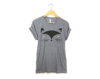 Geo Black Cat - Boyfriend Fit Crew Neck T-shirt with Rolled Cuffs in Heather Grey and Black - Women's Size S-5XL