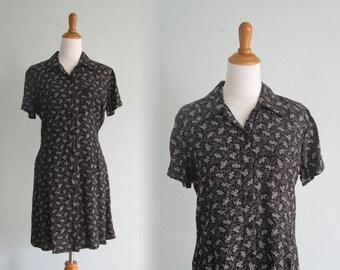 Vintage Black Grunge Dress by The Gap - 90s Black Floral Short Dress - Vintage 1990s Dress L XL
