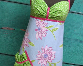 Women's Apron - Spring Floral Pink & Green - READY TO SHIP