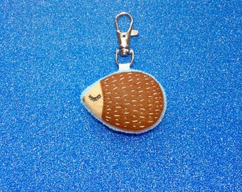 Hedgehog Keychain - Hedgehog Accessory - Cute Hedgehog - Hedgehog Plush - Hedgehog Charm - Valentines Day Gift