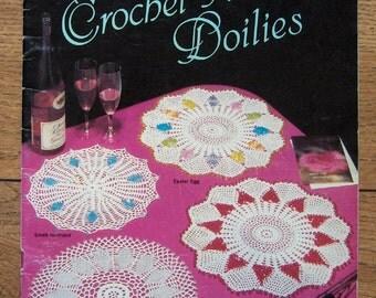 Vintage 1986 crochet patterns Crochet-A-Bead Doilies 14 designs