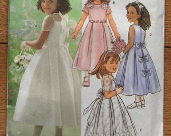 2003 butterick pattern 4058 girls dress flower girl wedding special occasion sz 6-7-8 uncut