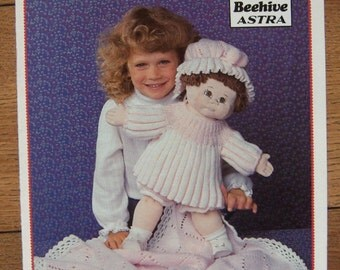 "Vintage 1985 Knitting pattern cabbage patch 16"" Doll Clothes - Little Miss Muffet children toy girl"