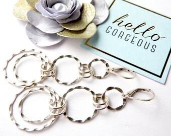 Sterling Silver Trendy Hoop Earrings-Reduced