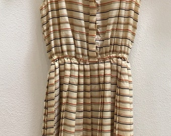Stripe Casual Day Dress - Sleeveless Pleated Skirt - Spring Summer Fall Dress Casual Stripe Dress - School  Work - 28 Bust Small X Small