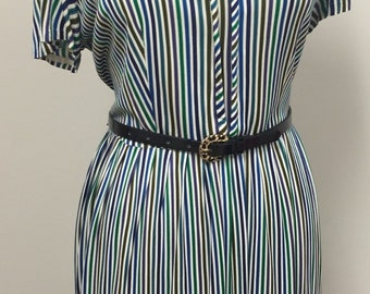 1960's Plus Size Day Dress- Secretary Dress - Day Dress -  Vertical Stripe Dress- Multi Colored Dress - 42 Bust