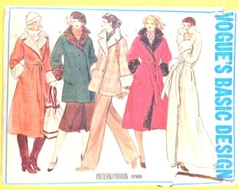 Vogue 1769 Misses' Coat Vogue's Basic Design Vintage Sewing Pattern Bust 34