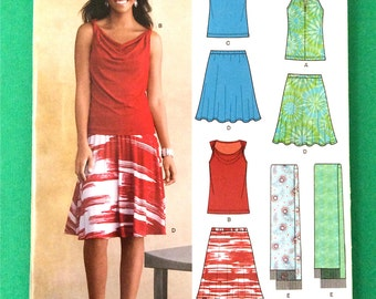 Uncut Summer Top and Skirt Knit Fabrics Only New Look A6108 Sewing Pattern Sizes 4 through 16