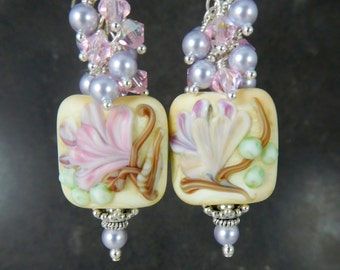 Lavender Pink Ivory Floral Glass Pearl Crystal Dangle Earrings, Soft Pastel Earrings, Botanical Earrings, Nature Jewelry, Lampwork Earrings