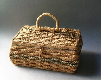 Vintage Sewing Basket ~ Woven Sewing Box ~ Sewing Supply Storage