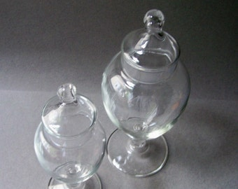 RESERVED......Two Vintage Glass Candy Jars ~ Apothecary Jars ~ Terrarium Jars