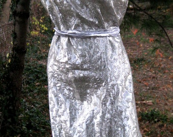 SILVER MONROE ERA style wiggle dress in Silver Holiday Lame, Metallic Silver dress, Ladies holiday dress