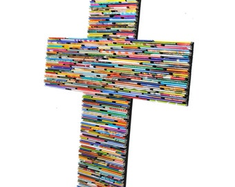 LARGE colorful cross-  made from recycled magazines, blue, green, red, purple, pink, yellow, orange