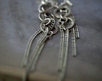 Super sassy multi sterling silver hoop and chain hanging earrings