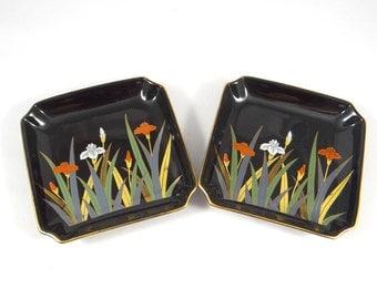 Otagiri Trays with Irises and Gold Gilt