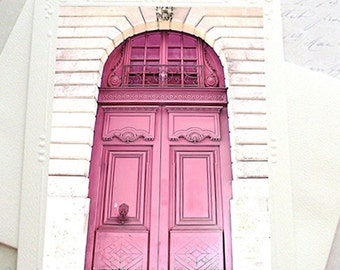 Pink Paris Door, Paris Note Cards, Pink Door Note Card, Paris photography, Paris Pink Door Notecards, French Door, Paris Pink Door Note Card