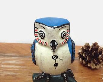 Vintage Folk Art Owl Ocarina Figurine - Terracotta Clay
