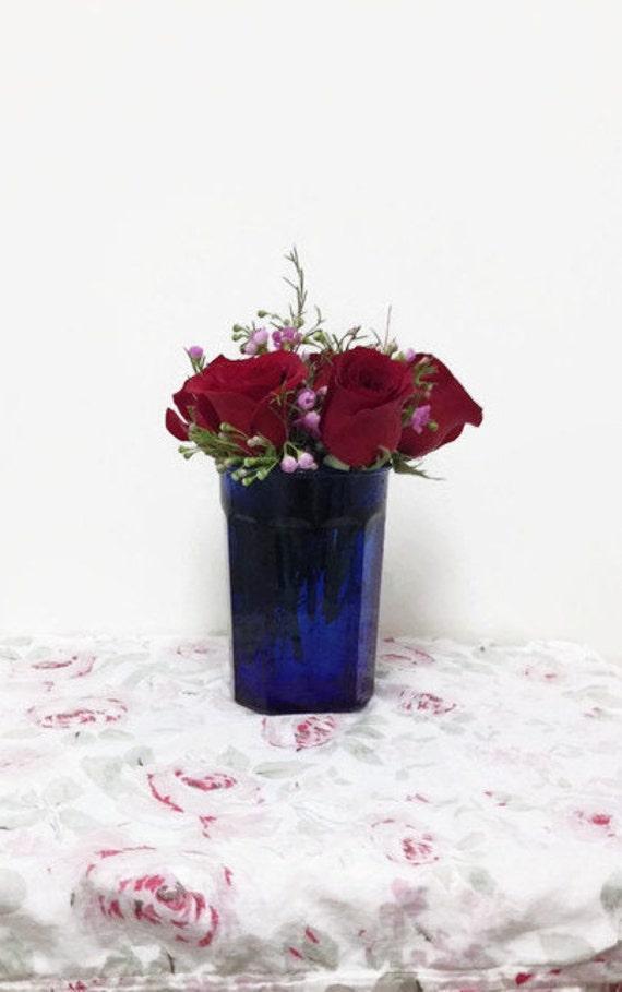 Vintage French Cobalt Blue Glass Vase or Tumbler Drinkware - Made in France