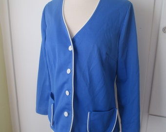 Montgomery Ward Lightweight Jacket, Cornflower Blue with White Piping, No Ironing, Size 12 Medium, Fits like a Size XL, Casual Blazer