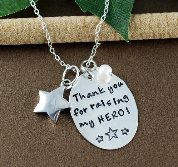 Thank you for Raising My Hero Necklace, Hand Stamped Necklace, My Hero Jewelry, Gift for Mother in Law, Police Officer Necklace, Police Mom