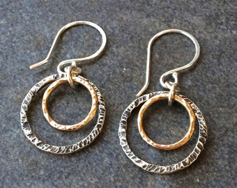 Earrings, Silver Earrings, Gold Earrings, Silver and Gold Hoop Earrings, Hoop Earrings, Sterling Silver, Gold Filled