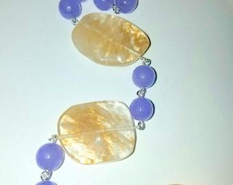 Pineapple Quartz and  Purple Alexandrite Long Necklace
