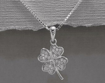 Four Leaf Clover Necklace, Sterling Silver Shamrock Necklace, Good Luck Charm Necklace, Gift for Her, St Patrick Necklace, Girlfriend Gift