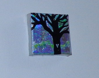 Tree Painting on Canvas Mini 2x2in Valentines Day Original Acrylic Mixed Media Heather Montgomery Art