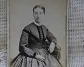 Antique CDV Photo-Lady-1800's Fashion Hoop Dress-Pin-by Foster-Great Falls,NH
