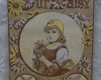 Pretty Girl Holding Flowers-Daisy-Butterfly-Hood's Sarsaparilla Advertising Scrap Print-Lowell,MA