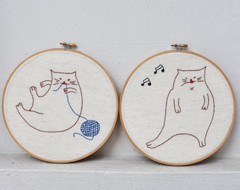 Fat Cats embroidery template | PDF embroidery pattern | hand embroidery template