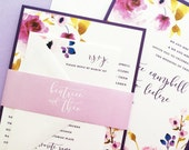 Wedding Invitations, Floral Wedding Invites, Purple Peonies Wedding Invitation Suite Set, Purple Wedding Invitations