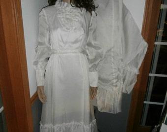 Wedding Dress Vintage Gunne Sax Handmade,  Boho Wedding Hippie Maxi Womens Dress with Train