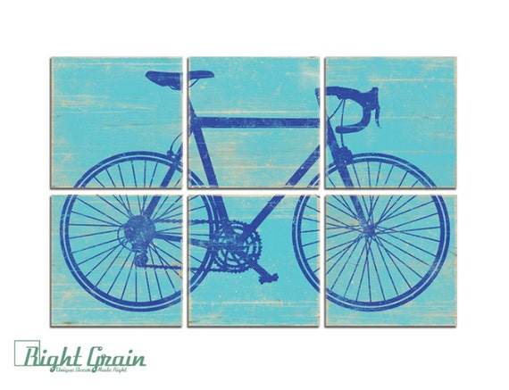 Rustic Distressed Road Bike Print on Wood - Large Bicycle Wall Art - Play Room Decor
