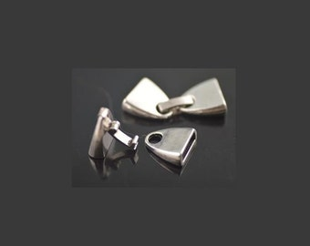 Fold Over Latch End Cap Clasp  ,  5 Sets Silver 10x2mm Snap Clasp For 5mm 10mm Flat Leather Cord , Leather Bracelet Stainless Steel Clasp