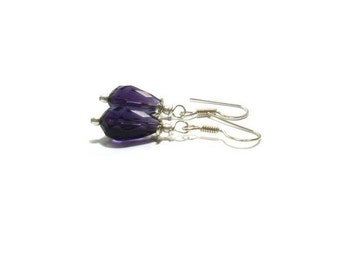 Amethyst Earrings , Sterling Silver Earrings , Faceted Amethyst Gemstones  ,  Genuine Amethyst Gemstones , Gift For her