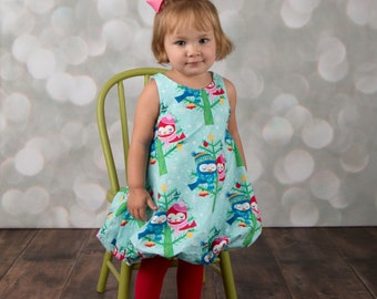 Girls Bubble Dress, Snowy Christmas Owls, sizes 1T to 6, by SunLoveShirts